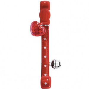 COLLIER POUR CHAT GLOSSY À POIS ROUGE