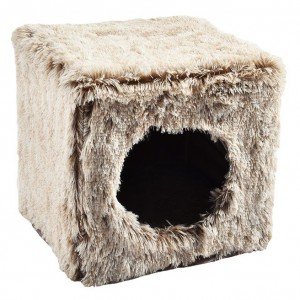 CUBE CHAT FOURRURE MARRON