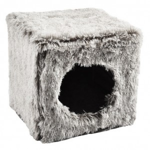 CUBE CHAT FOURRURE GRIS
